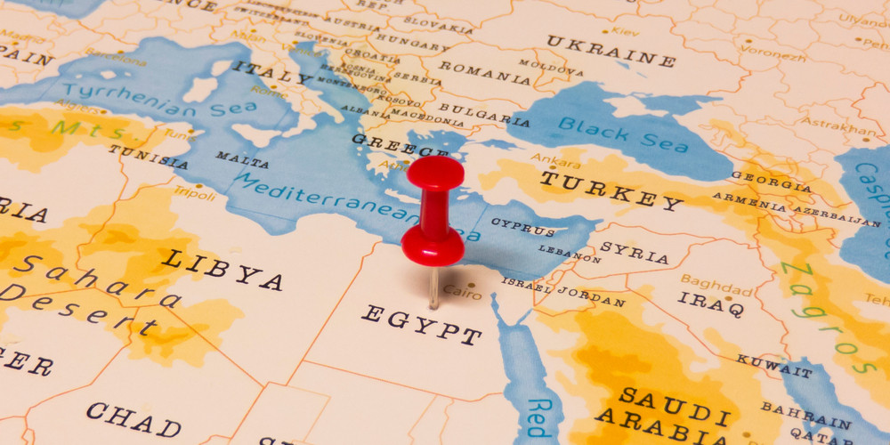 A Red Pin on Egypt of the World Map