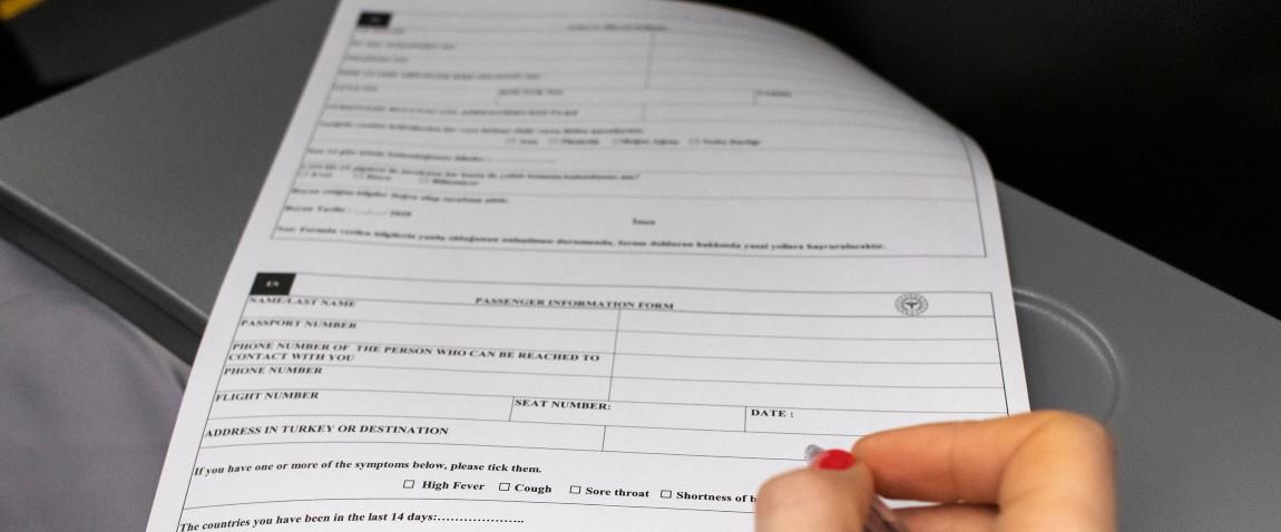 filling passenger information form