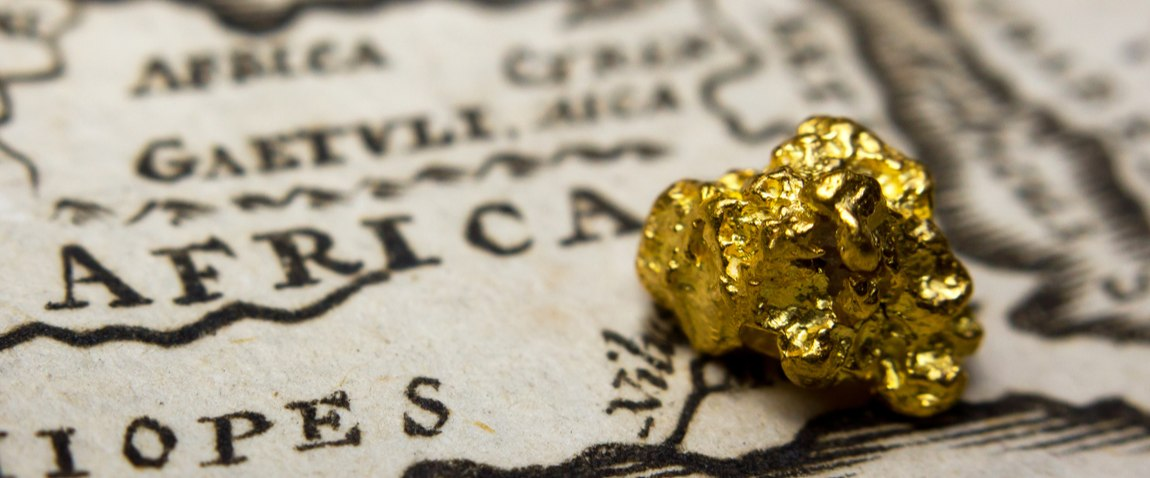 gold nugget on african map
