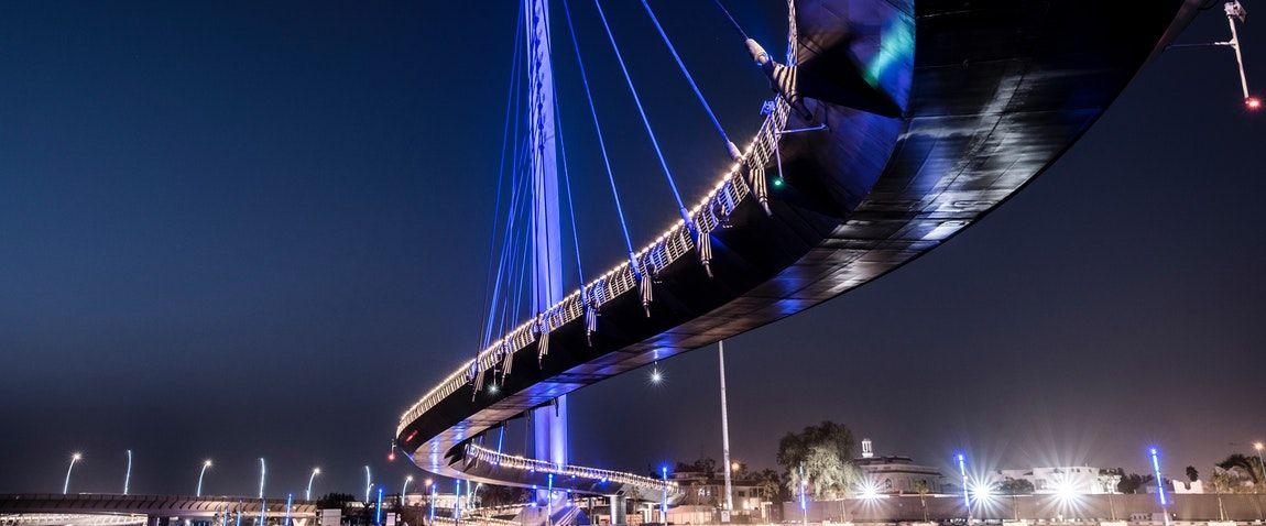 hi tech style bridge at night