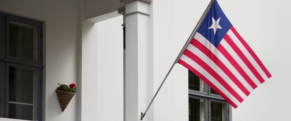 liberia flag hanging in front of the building