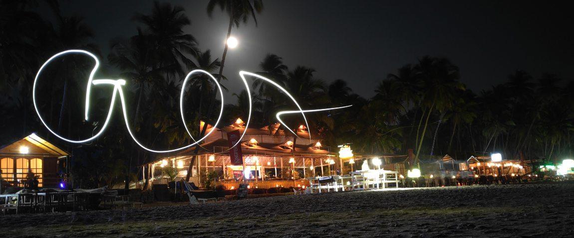 light trails at palolem beach