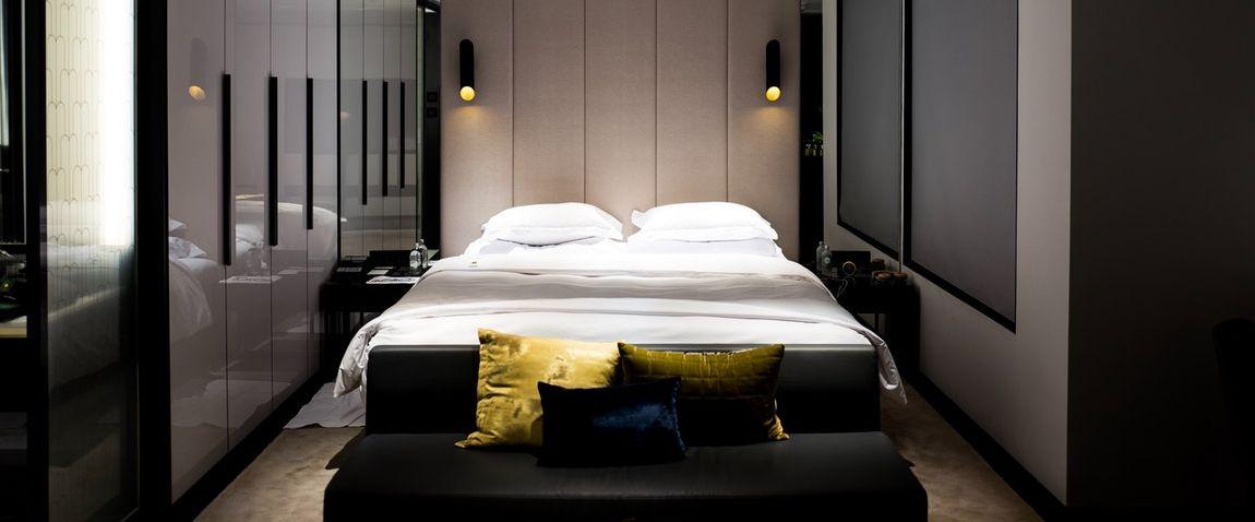luxury hotel room bed