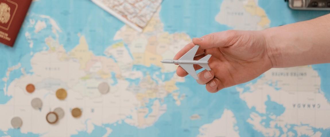 airplane map and passport