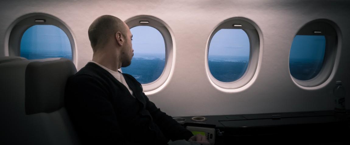 man looking outside