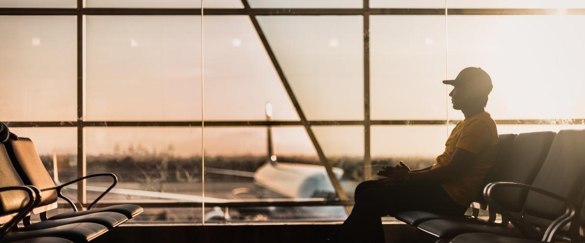 man waiting flight