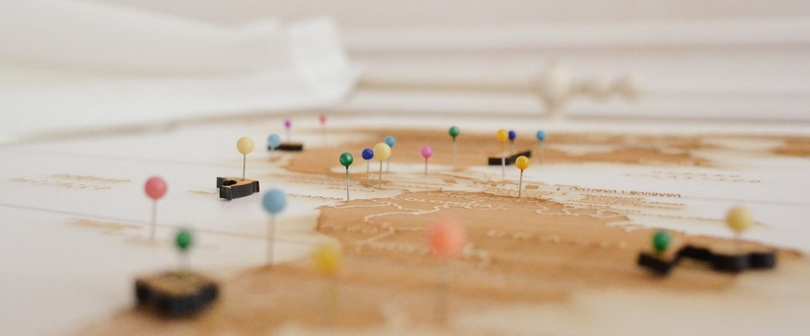 map with colorful pins