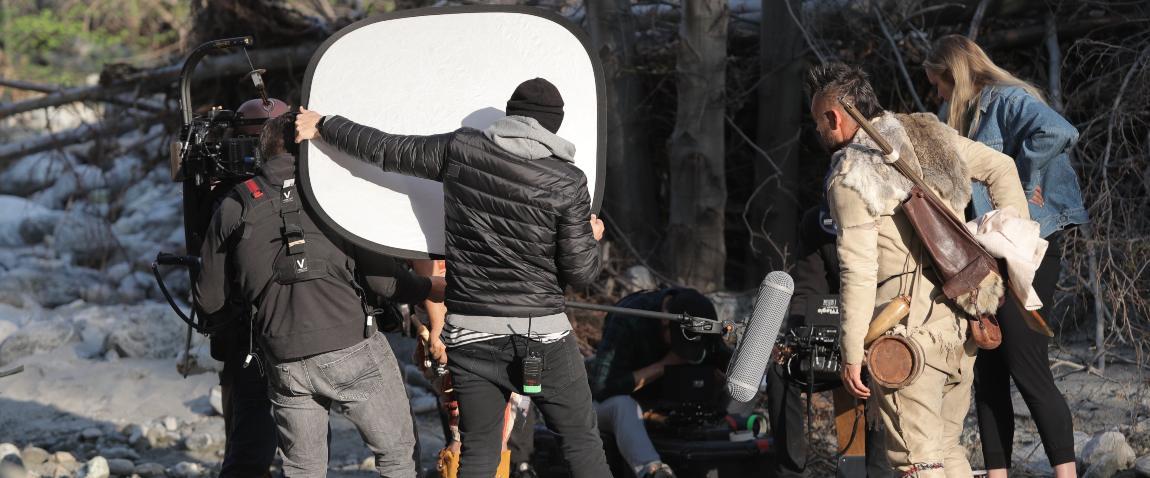 men making film