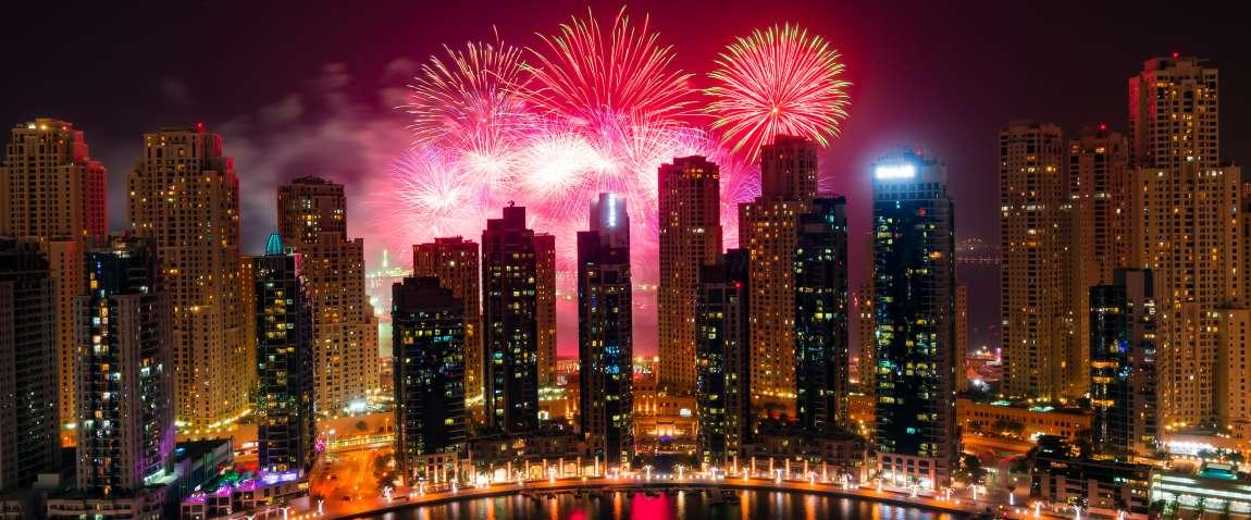 fireworks on dubai marina seashore