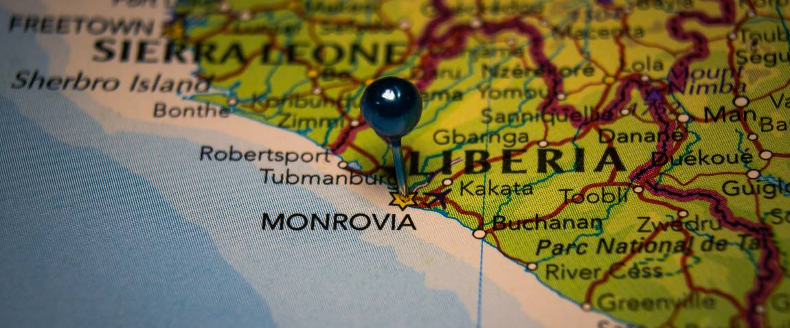 monrovia liberia pinned on geographical map