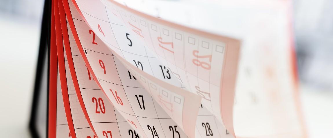 months dates shown on calendar
