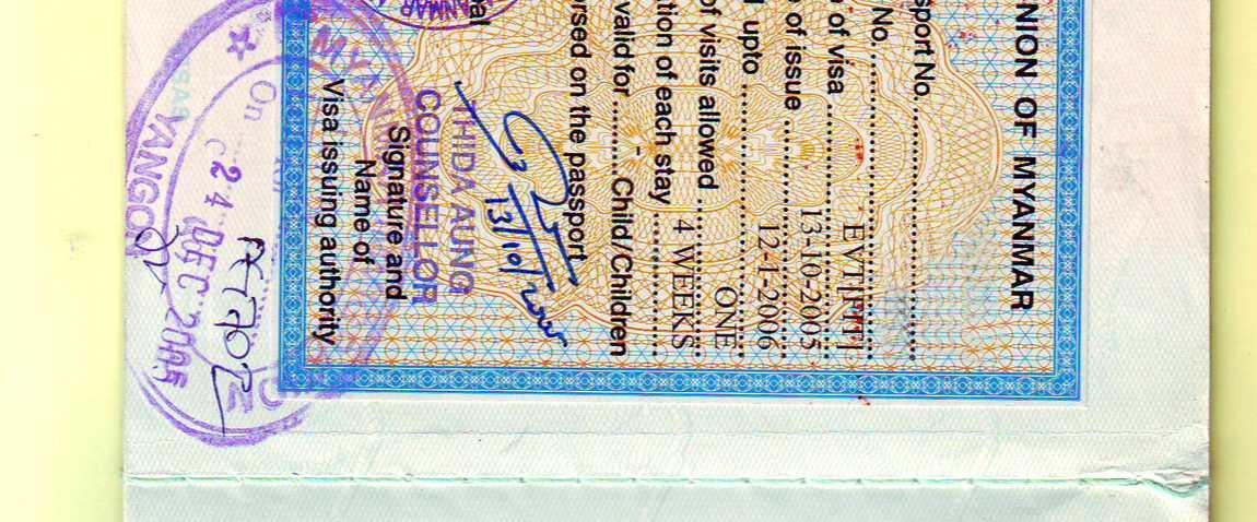 myanmar visa stamp