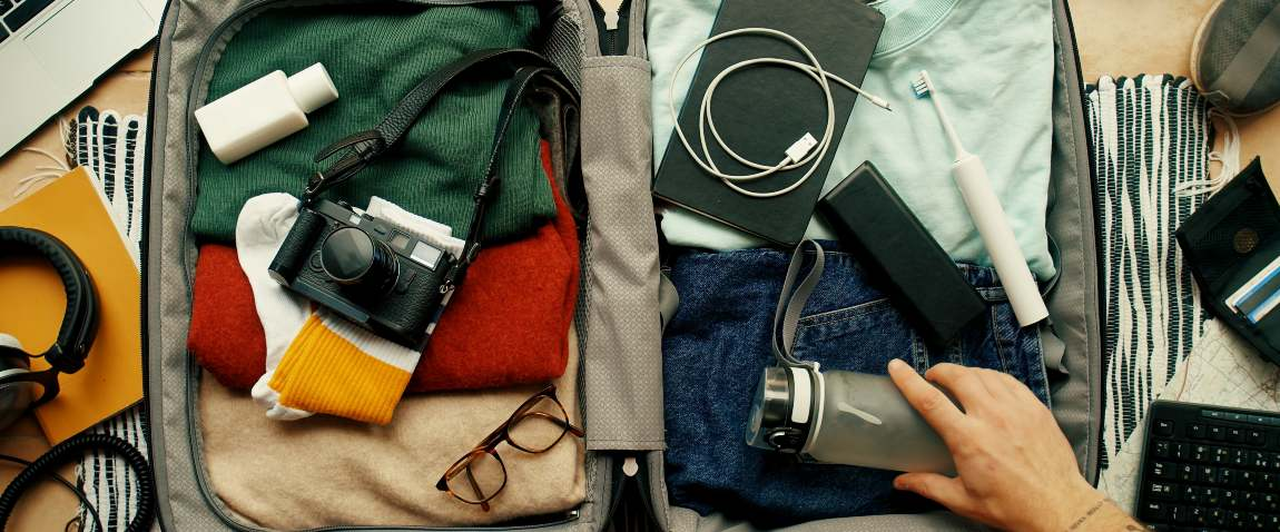 packing bag with camera