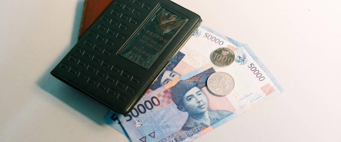 passport rupiah and wallet