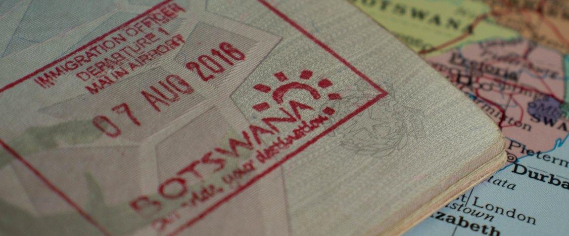 passport stamp of botswanian visa