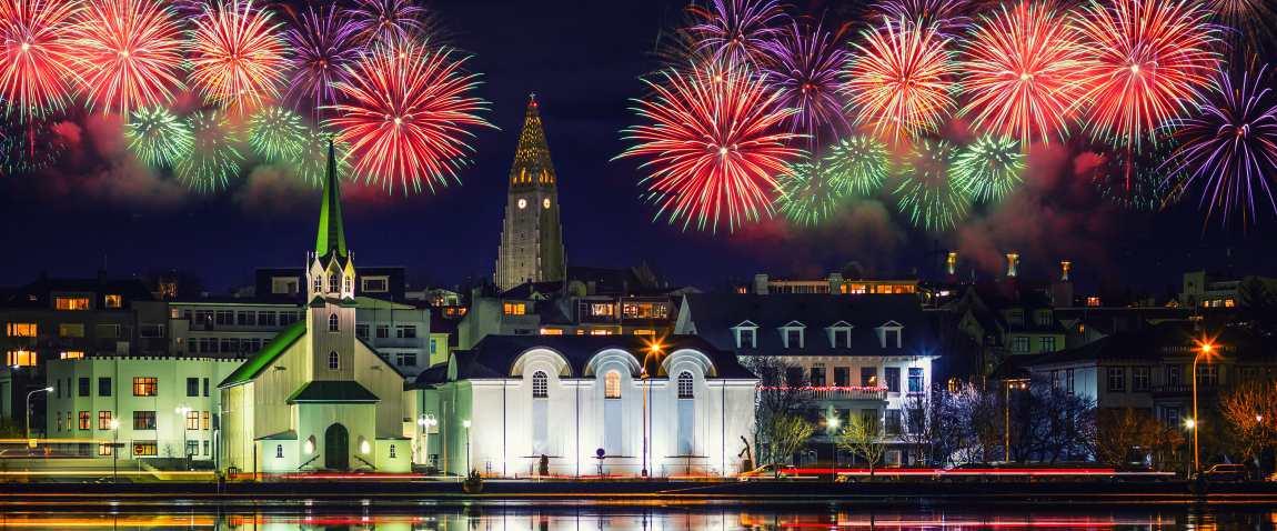 reykjavik with fireworks