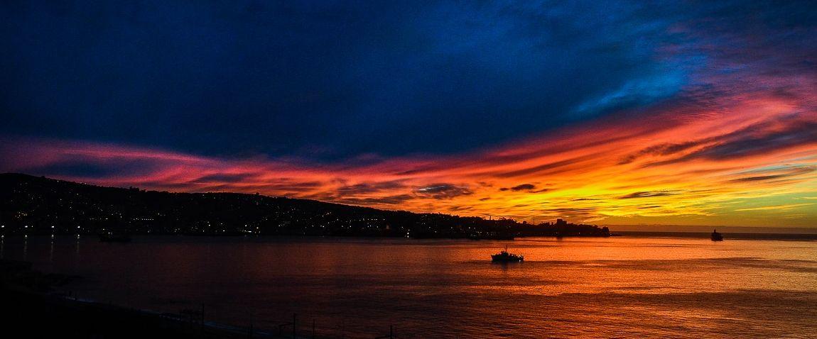 sunset in valparaiso