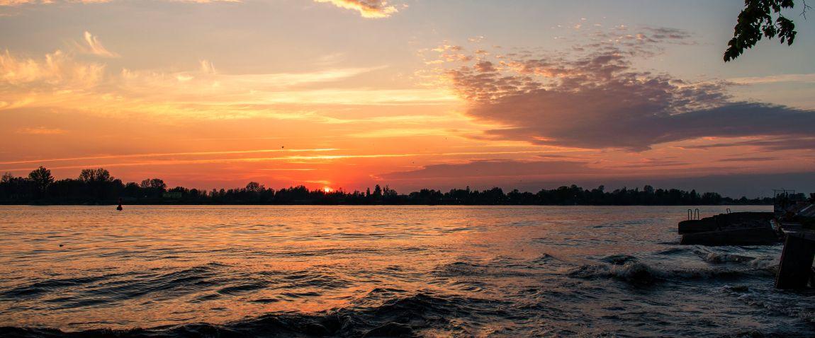 sunset over daugava river