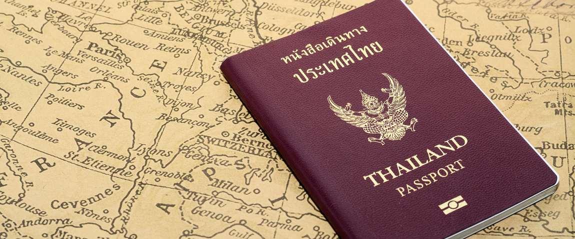 thailand passport on old map