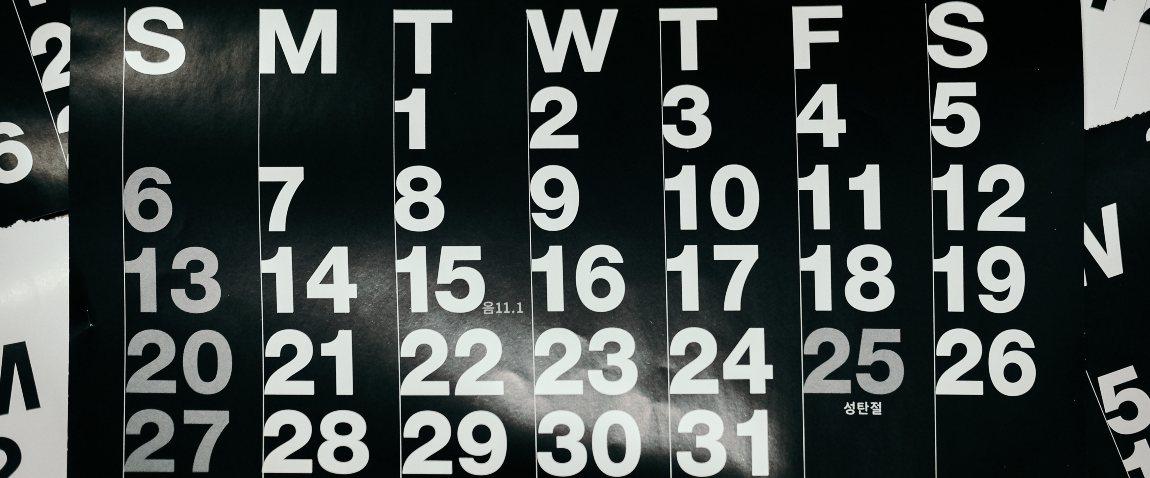 time calendar month week