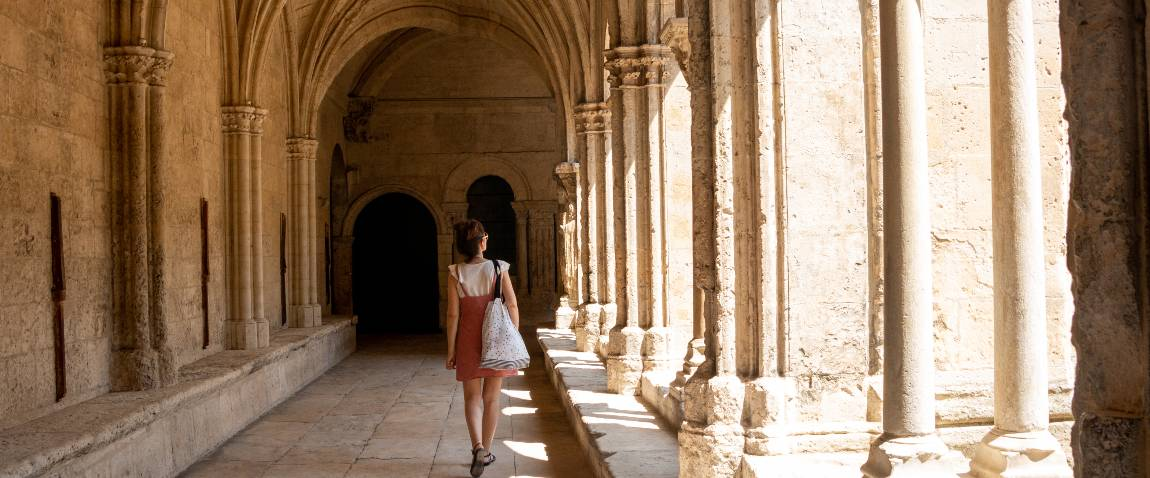 woman visiting cathedral