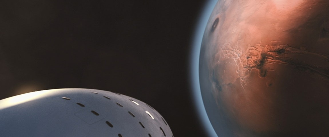 white space ship and mars