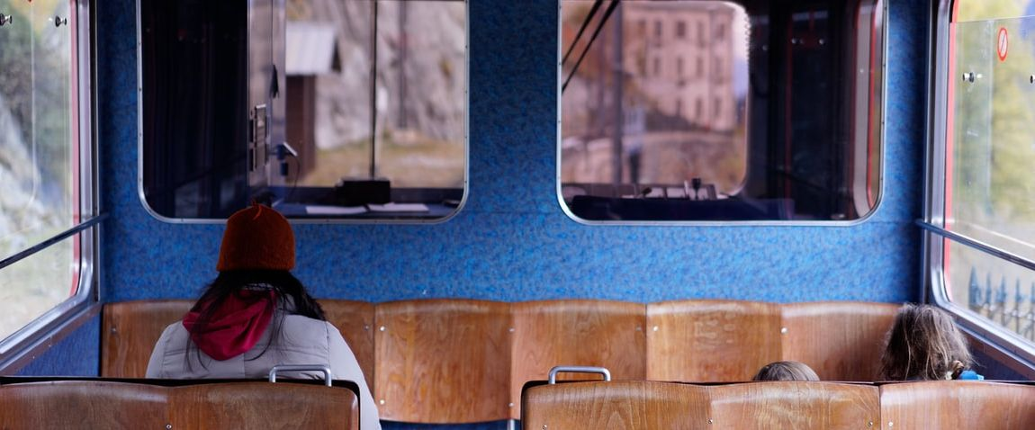 woman sitting in the bus